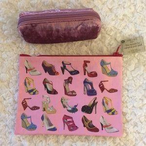 SET of Blue Q Shoes Bag & Pink Velvet Bag